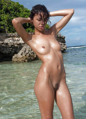 Almost naked black girls on the beach