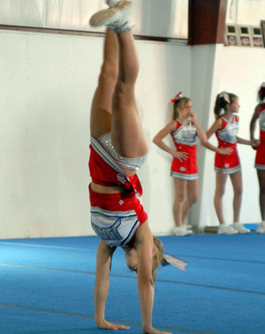 Teens cheerleaders during training..