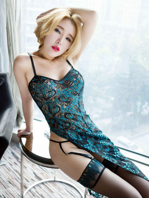 This young Asian blonde model in..