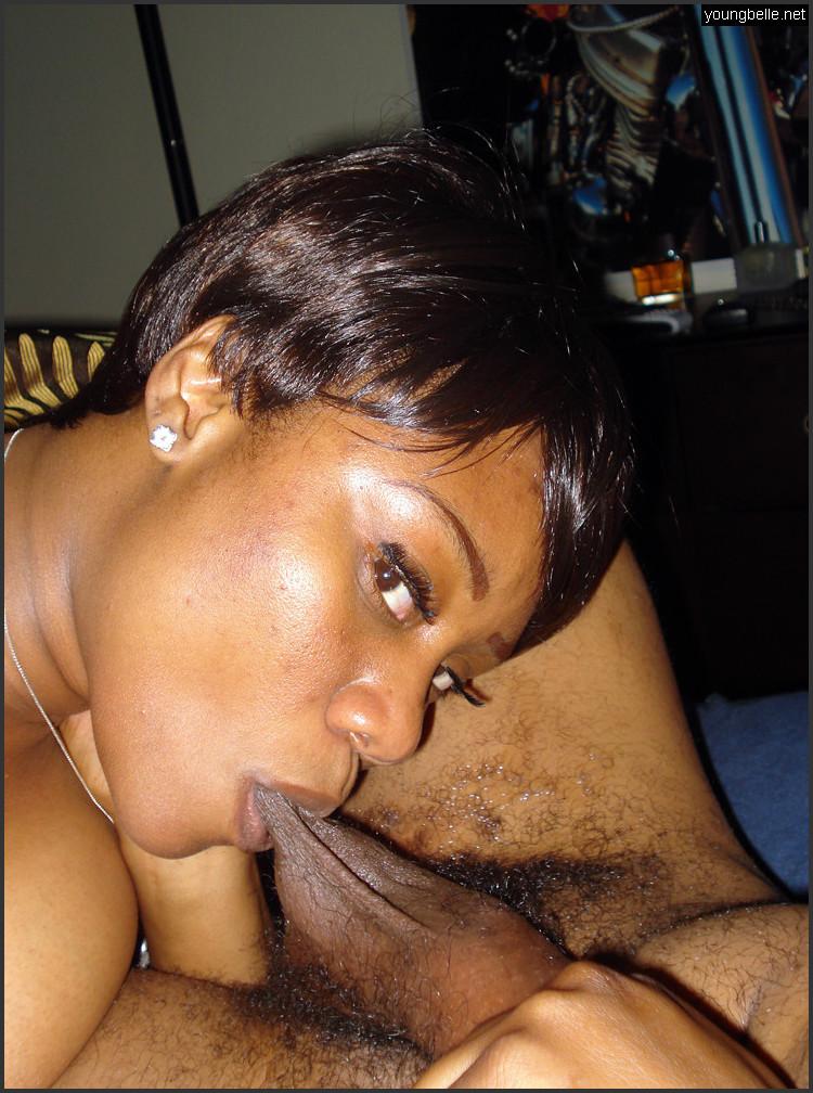Ebony Sloppy Double Blowjob