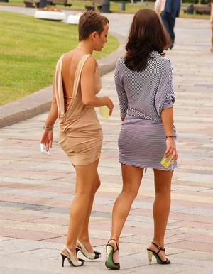 Sexy ladies walking, long legs photos